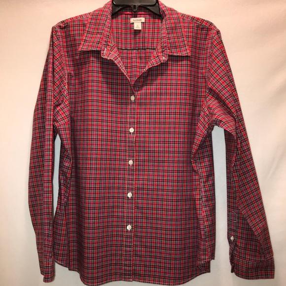 71d9f4efeb8 L.L. Bean Tops - L.L. Bean Women s Red Plaid ButtonUp Shirt Size XL